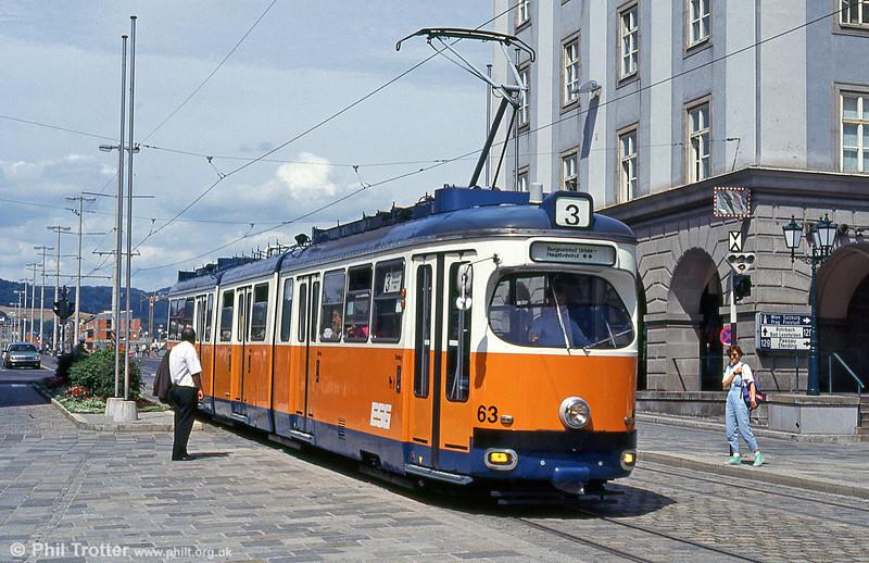 Car 63 at Hauptplatz on 12th August 1992.
