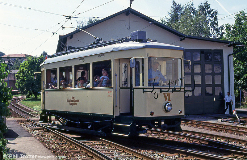 Here car VI of 1921 passes the depot on 12th August 1992. This was the last system in Austria to use trolley poles.