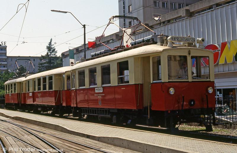 Vintage Salzburg Lokalbahn car ET6 - built by MAN in 1908 - at Salzburg Lokalbahnhof on 9th August 1992.