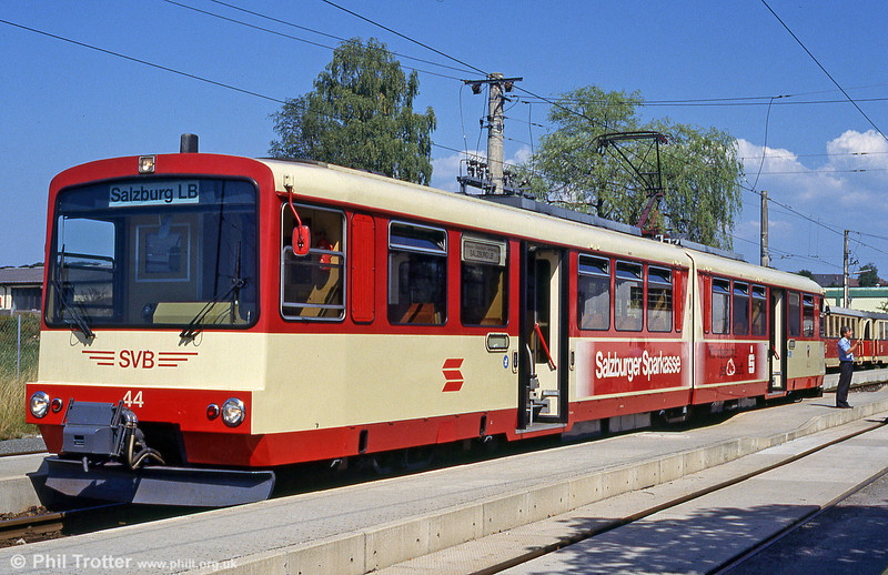 Salzburg Lokalbahn car 44 at Lamprechtshausen on 9th August 1992.