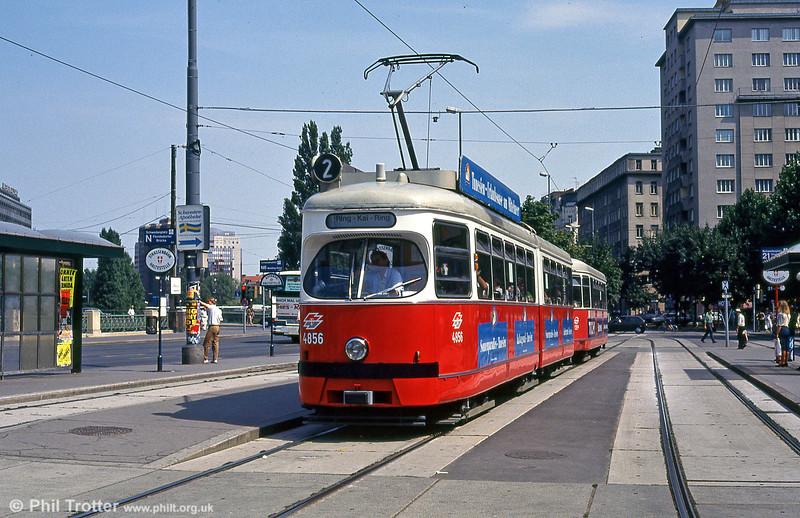 Vienna 4856 at Schwedenplatz on 14th August 1992.