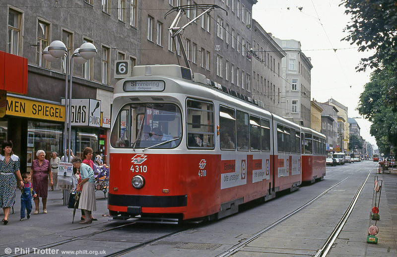 Vienna ROTAX E2 of 1985, 4310 at Reumannplatz on 15th August 1992. (First published in Light Rail & Modern Tramway, 3/93).