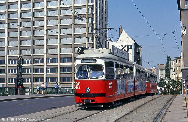Car 4663 at  Marienbrucke on 14th August 1992.