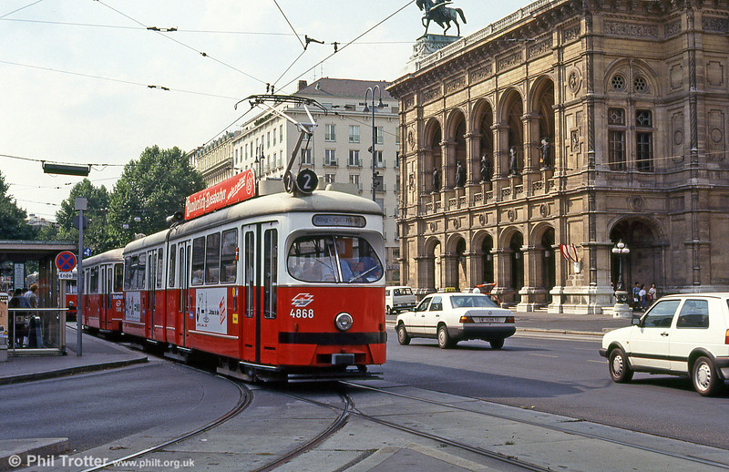 Car 4868 passing Vienna Opera House on 14th August 1992.