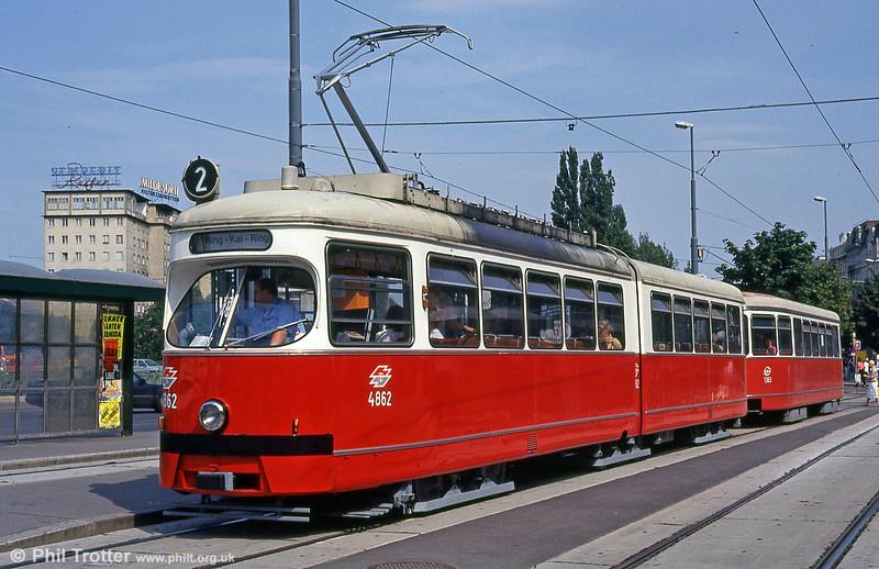 Vienna 4862 at Schwedenplatz on 14th August 1992.