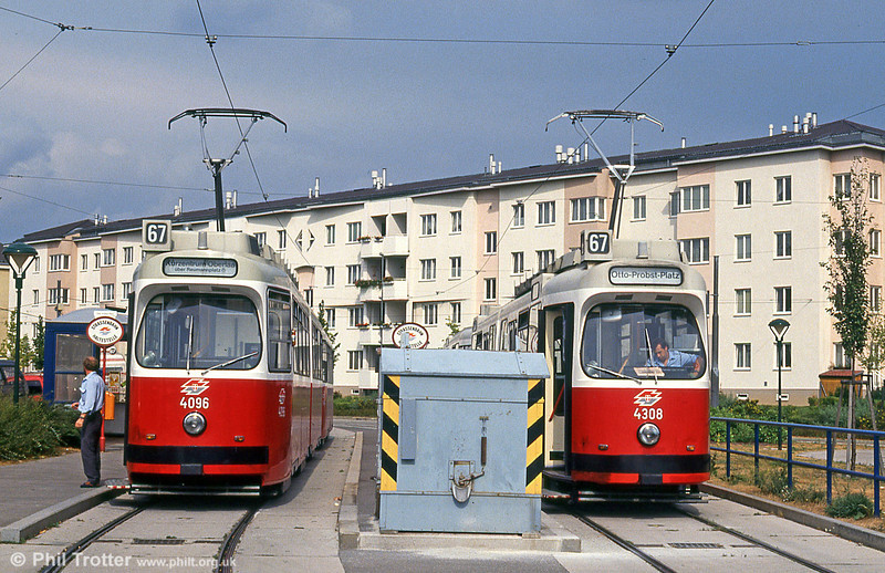 Cars 4096 and 4308 at Otto-Probst-Platz on 15th August 1992.