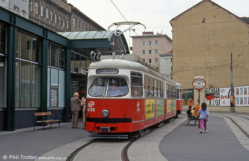Car 4765 at Schlachthausgasse on 15th August 1992.