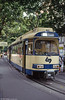 Vienna Lokalbahn runs services from Vienna to Baden. Car 107 is seen at the Opera terminus in Vienna, on 14th August 1992. (First published in Light Rail & Modern Tramway, 1/93).