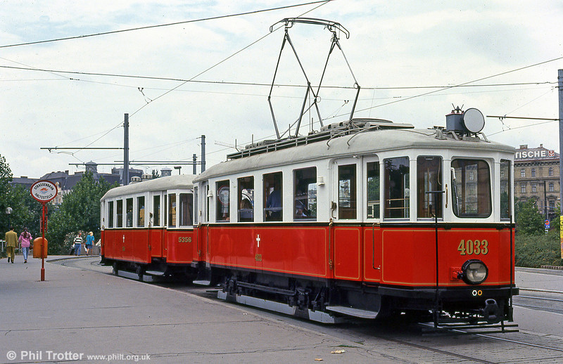 At work running special services on the Vienna system is 4033 dating from 1928, at Karlsplatz on 15th August, 1992.