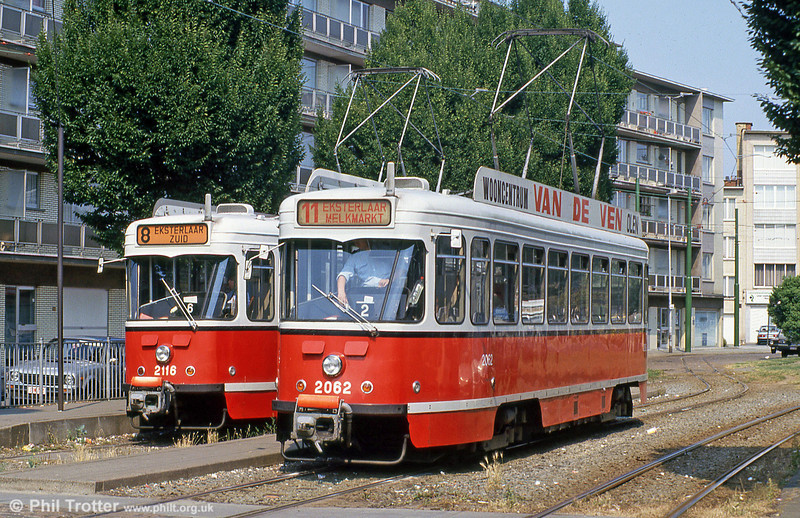 On 1st August 1990, cars 2116 and 2062 stand at Eksterlaar.