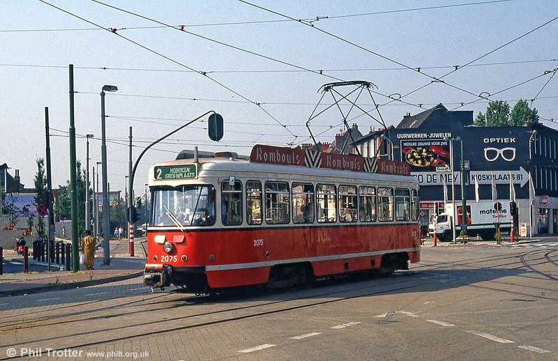 Car 2075 at Steenweg, Zwaantjes on 1st August 1990.
