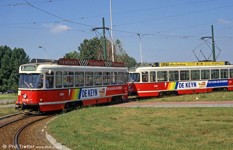 Cars 2078 and 2153 at Linkeroever on 29th August 1991.