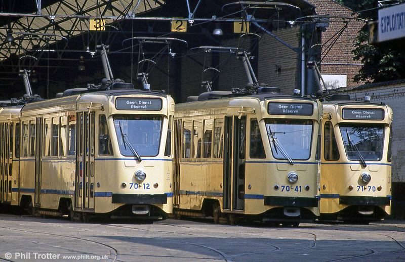 A line-up of 7000 series PCC cars at Ixelles Depot, Brussels, on 26th August 1991.