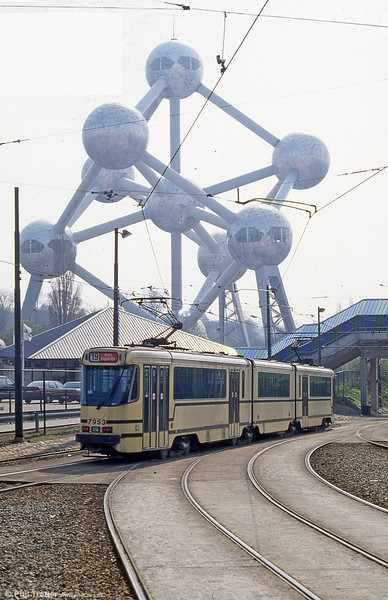Car 7953 at Heysel on 12th April 1994. The Brussels equivalent of the Eiffel Tower, the Atomium was built for the World Expo of 1958. It is a replica of an iron molecule enlarged 165 billion times.