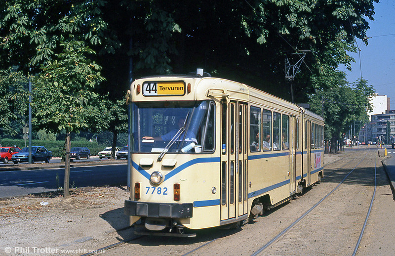 Brussels 7782 at Woluwe on 2nd August 1990. (First published in Modern Tramway, 1/91).