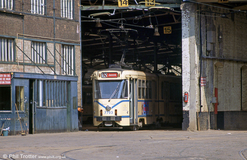 Car 7703 at Ixelles depot on 26th August 1991.