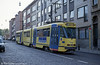 Car 7906 at Silence on 22nd April 1994. Brussels' longest trams are the 8-axle LRVs, 7901-7961 used on pre-metro routes. The 61 8-axle cars were built by BN (La Brugeoise) in 1977/78 and offer refinements such as tinted windows and high back seating.