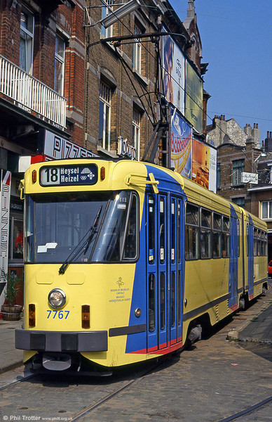 Brussels 7767 at Place St. Denis on 26th August 1991. (First published in Light Rail & Modern Tramway, 2/92).
