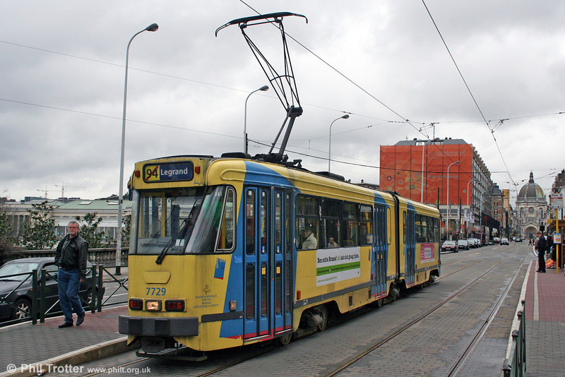 Brussels 7729 at Botanique on 16th March 2008. A 'barred' service number idicates that the tram is not following the full route.