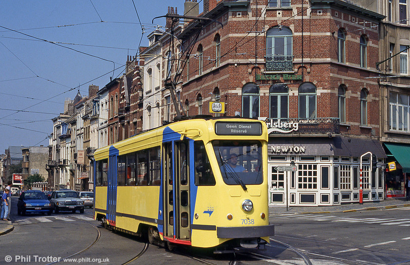 Brussels 7000 series PCC car no. 7038 at Ixelles on 26th August 1991.