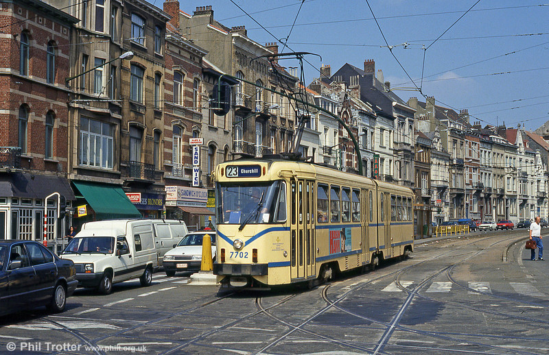 Car 7702 at Ixelles on 26th August 1991. The 127 double-ended 6-axle articulated PCCs numbered 7701-7827 are used on virtually all routes, and take over from the 4-axle cars on weekends. They were built by La Brugeoise in 1972/73.