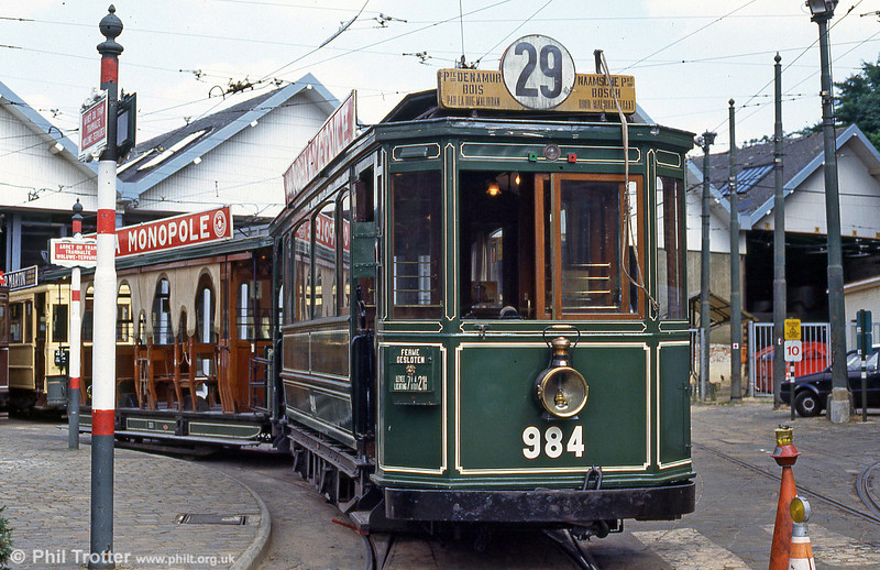 Tramways Bruxellois car 984 (built 1906) with trailer 301 at Woluwe museum on 25th August 1991.