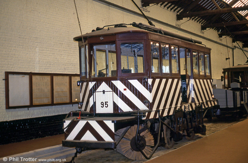 Snowbroom car 95 of 1904, built by the J G Brill company in Philadelphia, USA at Woluwe museum on 25th August 1991.