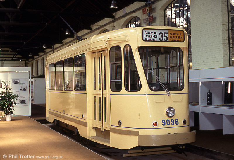 Car 9098 of 1960 at Woluwe museum on 25th August 1991. The 9000 series were built on old 'standard' 4-wheel tram chassis to resemble the first Belgian PCC cars.