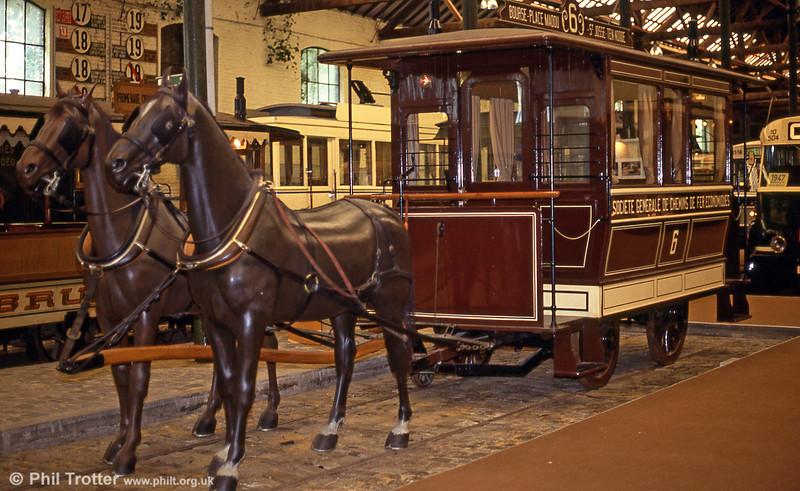 1887 horse car 6 of Chemins de Fer Economiques at Woluwe Museum on 25th August 1991.