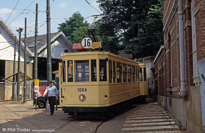 Car 1064 of 1938 at Woluwe depot/museum on 25th August 1991. This was the standard Bruxelles tram type until PCC cars arrived in the 1950s and was later used as a works car.