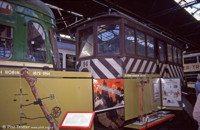 Snowbroom car 96 of 1904 at the erstwhile West Yorkshire Transport Museum, Bradford, UK on 7th October 1990.