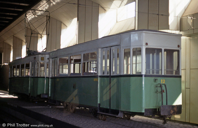 Charleroi STIC (Societe de Transports Intercommunaux de Charleroi) car 310 of 1920 and trailer 12 preserved on the platform of Beaux Arts Metro station, 30th August 1991.