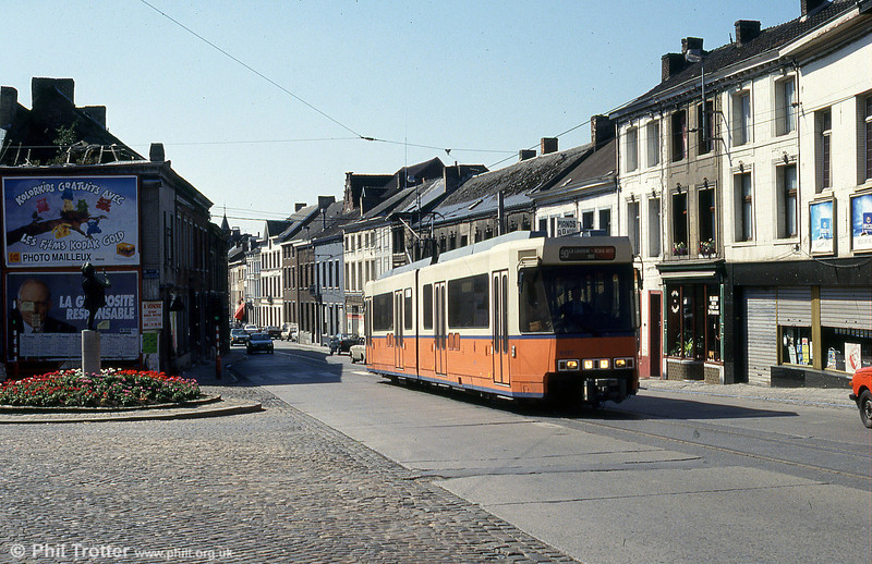 Car 6127 at Binche on the now-closed section to La Louviere on 30th August 1991.