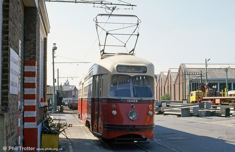 A 'proper' PCC car no. 10409 dating from 1947 at Anderlues Depot on 3rd August 1990.