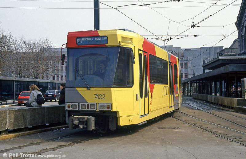 Car 7422 at Charleroi Sud on 13th April 1994.