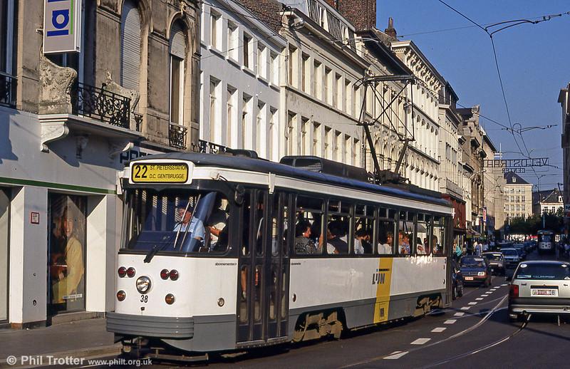 Car 38 at Gebroeders Vandeveldestraat on 30th August 1991.