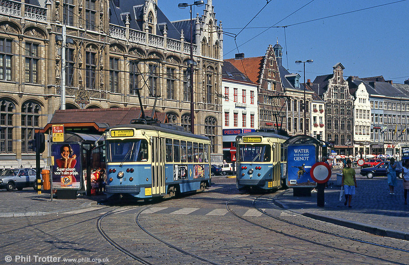 Cars 11 and 2 at Korenmarkt on 31st July 1990.