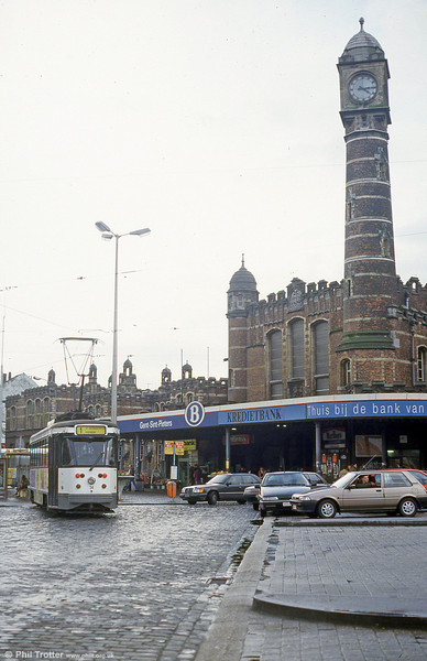 Car 34 against the distinctive mosque-like tower of Sint-Pietersstation on 9th April 1994.