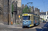 Ghent car 54 passing the Castle of the Counts on 31st July 1990. (First published in Modern Tramway, 1/91).