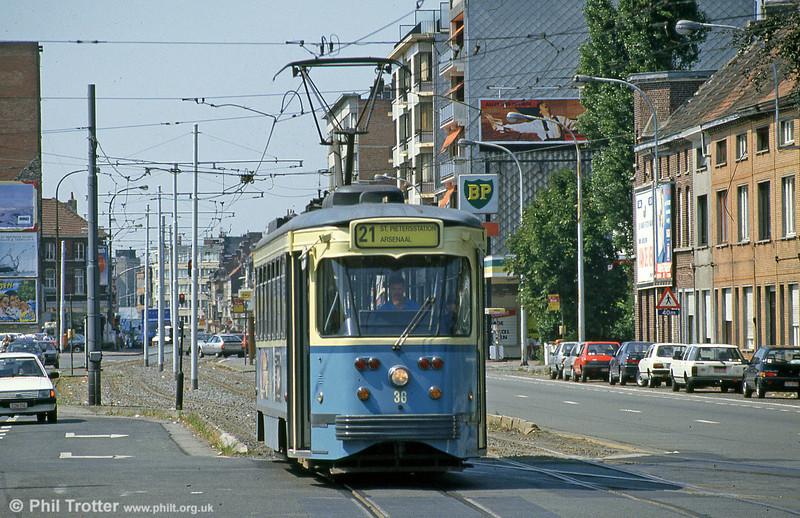 Car 36 at Gentbrugge on 31st July 1990.