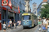 Gent car 46 passing along Veldestraat on 31st July, 1990. (First published in Modern Tramway, 1/91).