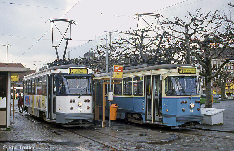 Displaying the new and the old liveries at Ghent on 9th April 1994 are PCC cars 35 and 49 at St. Pieters Station.