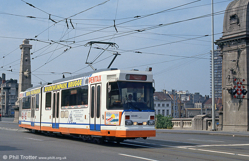 Belgian coastal tramway car 6046 crossing the railway bridge at Oostende on 10th August 1990. (First published in Modern Tramway, 1/91).