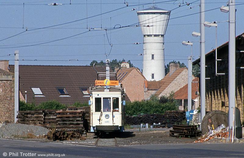Preserved Vicinal standard car 9985 at Knokke on 29th July 1990.