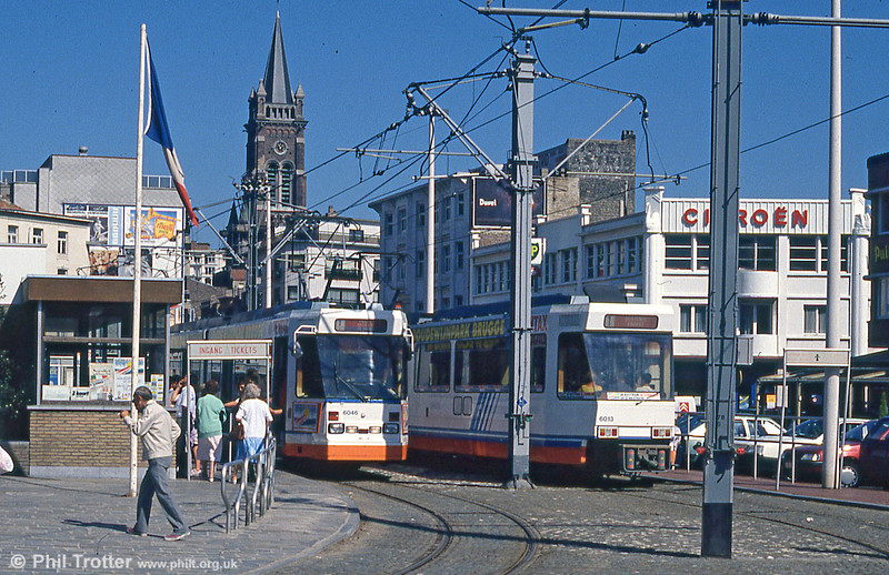 Car 6046 and a busy scene at Blankenberge on 29th July 1990.