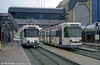 Belgian coastal trams 6021 and 6042 at the new terminal building at Oostende on 10th April 1994.