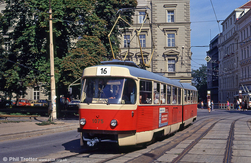 Brno Tatra K2 1075 at Brandlova, 17th August 1992.