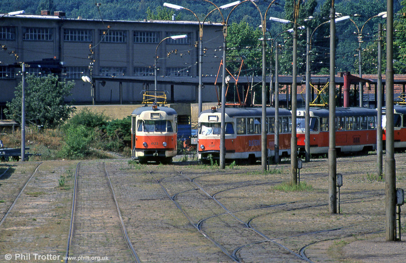 T2 service car 4122 and others at the tram depot at Pisárky on 17th August 1992.