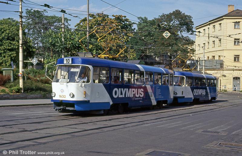 Advertising liveried T3 1632 at Hlavní nádraží on 17th August 1992.