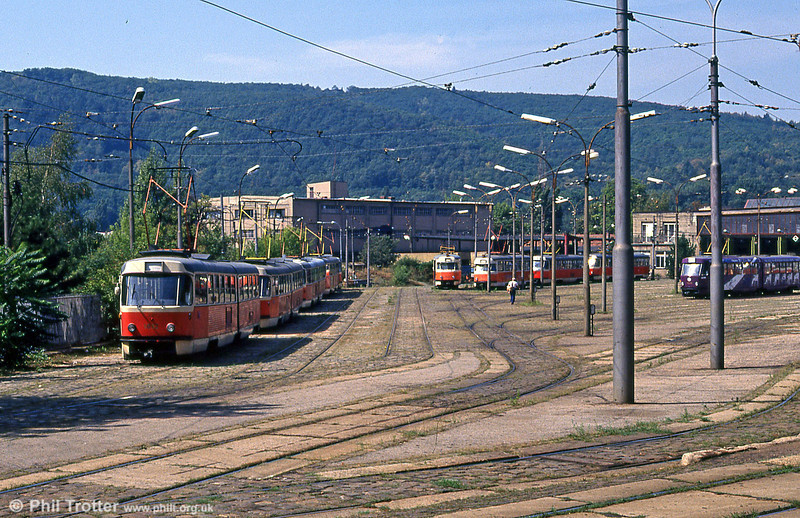 An overview of the tram depot at Pisárky on 17th August 1992 with Tatra T2, T3 and K2 cars present.